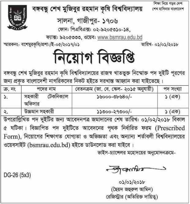 Bangabandhu Sheikh Mujibur Rahman Agricultural University Job Circular