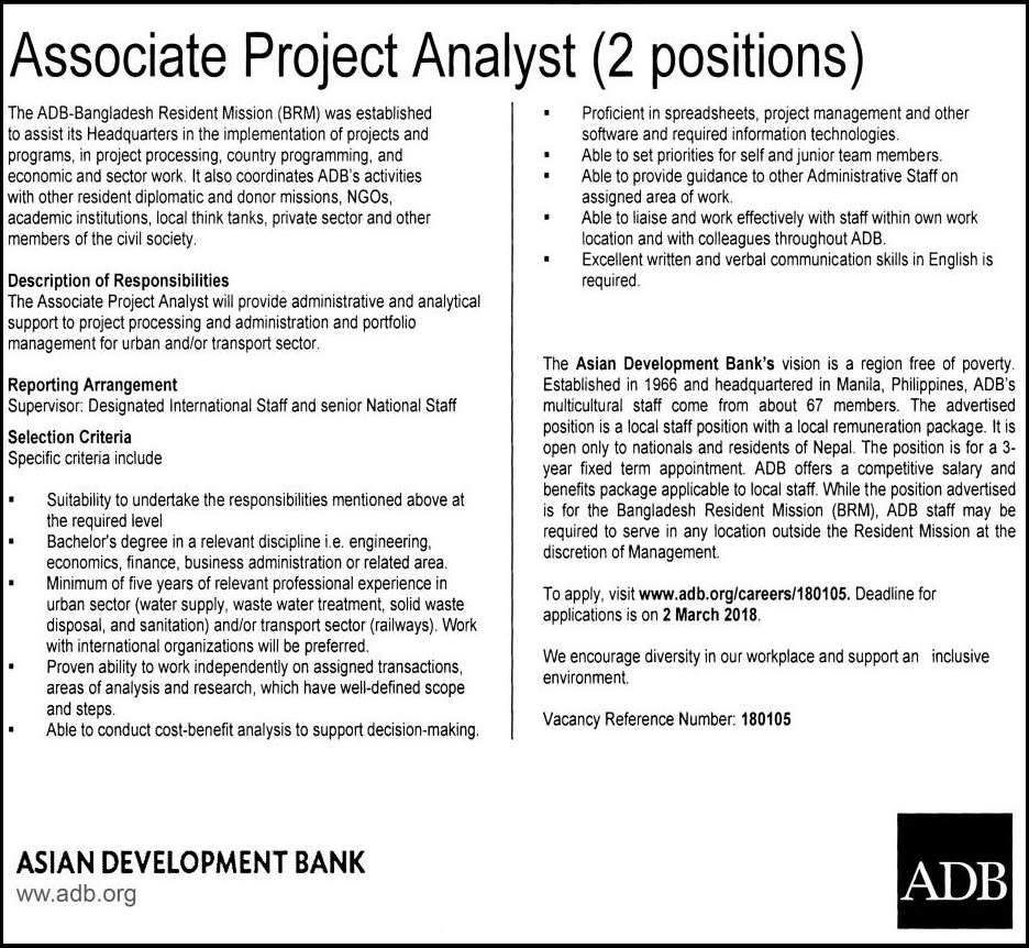 Asian Development Bank Jobs Circular