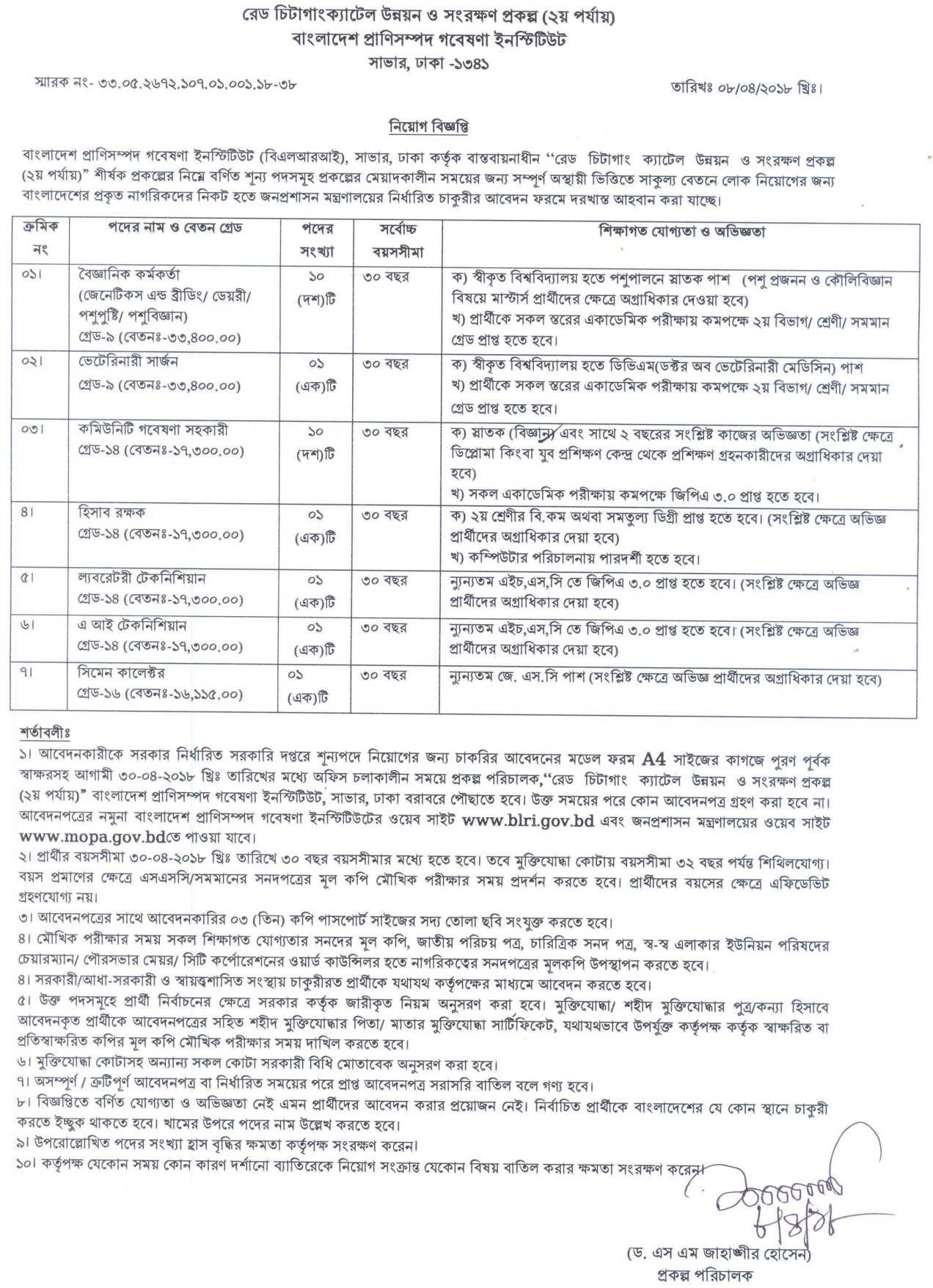Bangladesh Livestock Research Institute BLRI job circular 2018