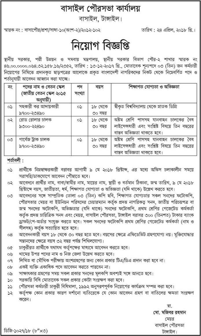 Municipality Job Circular