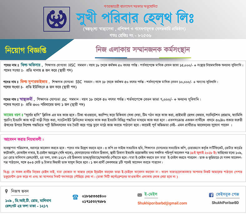 Shukhi Poribar Health Ltd Jobs circular