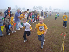 B about to cross finish line