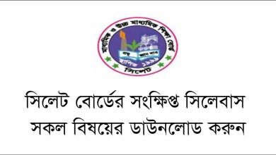 SSC Short Syllabus 2021 Sylhet Board