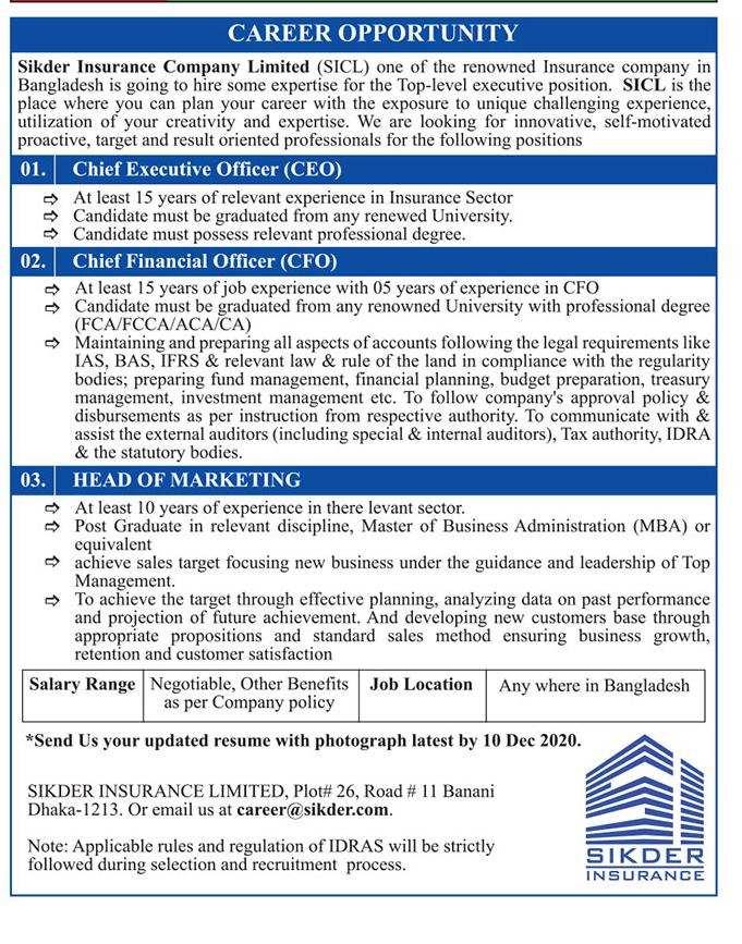 Sikder Insurance Company Limited Job Circular 2021