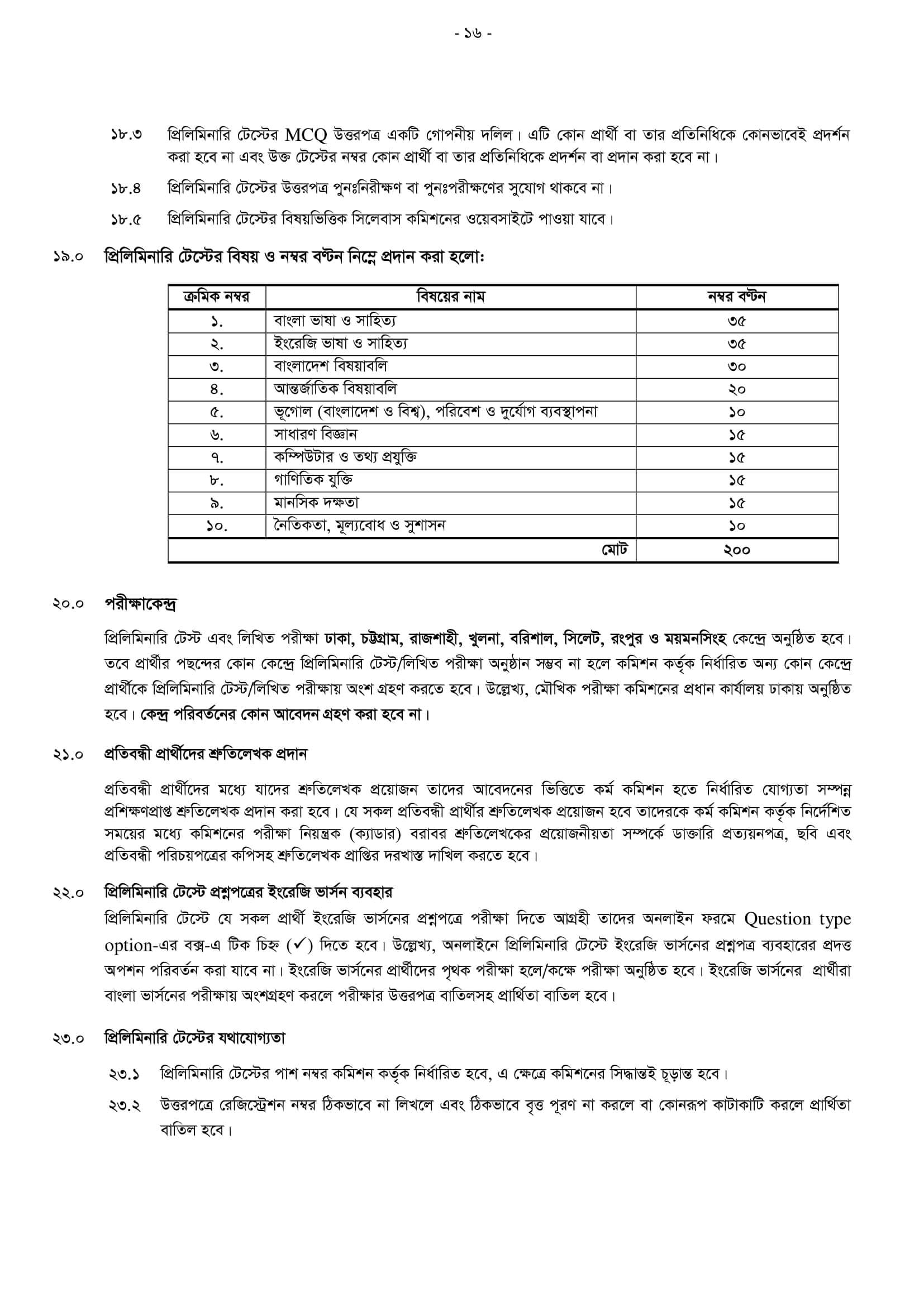 43 BCS Preliminary Syllabus and Marks Distribution