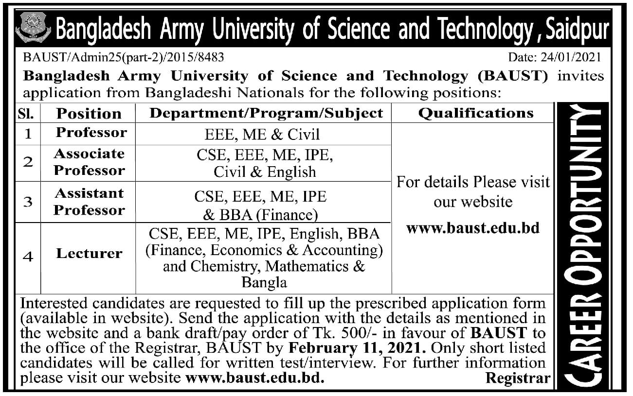 Bangladesh Army University of Science and Technology BAUST Job Circular 2021
