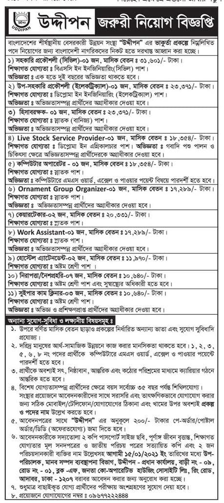 Uddipan NGO Job Circular