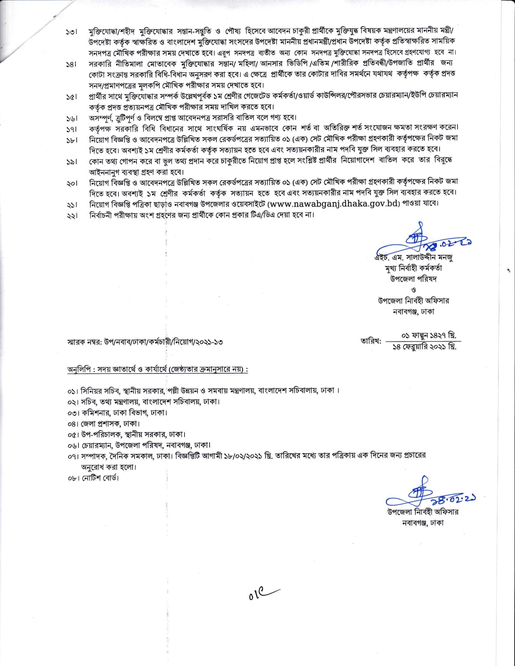 Nawabganj Upazila Parishad Job Circular