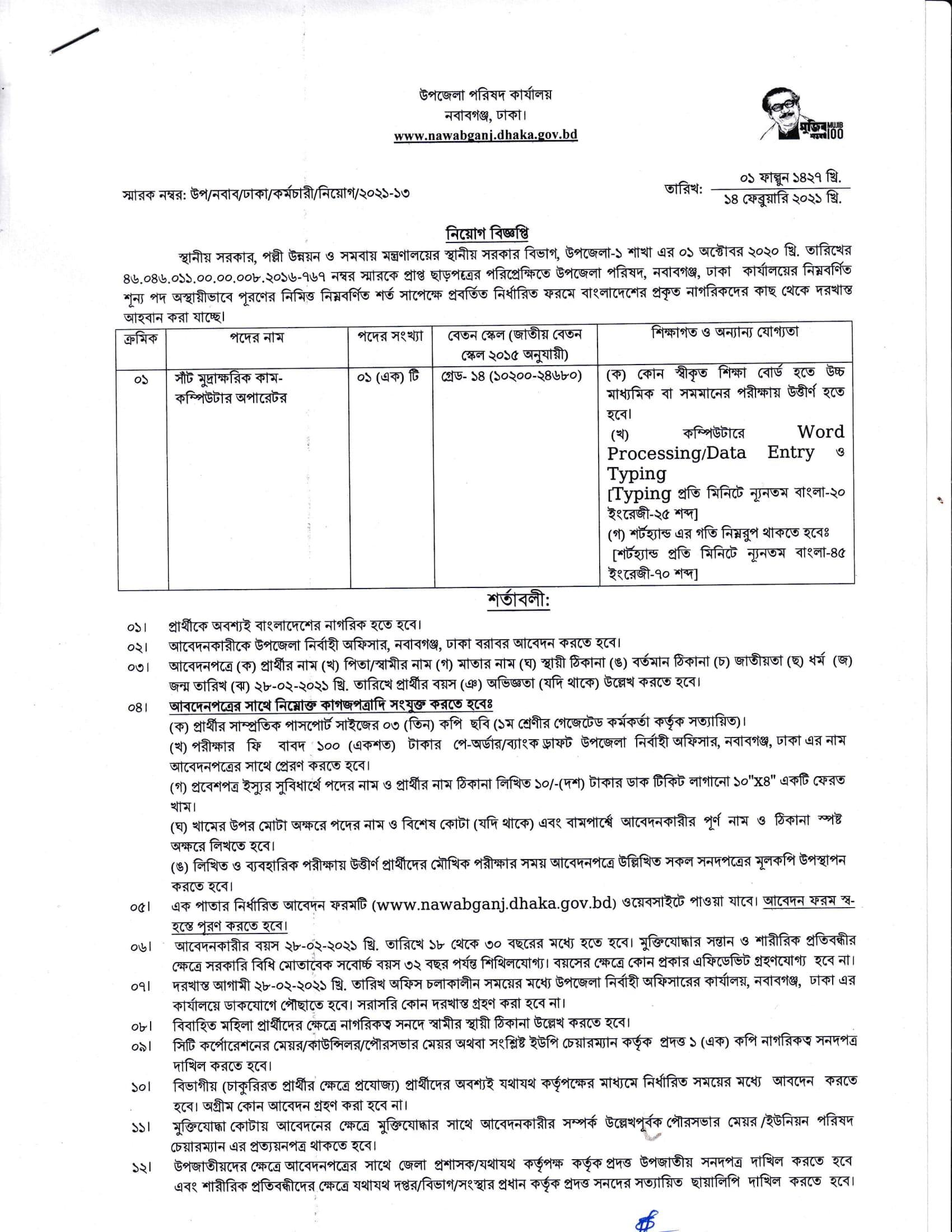 Dhaka Nawabganj Upazila Parishad Job Circular 2021