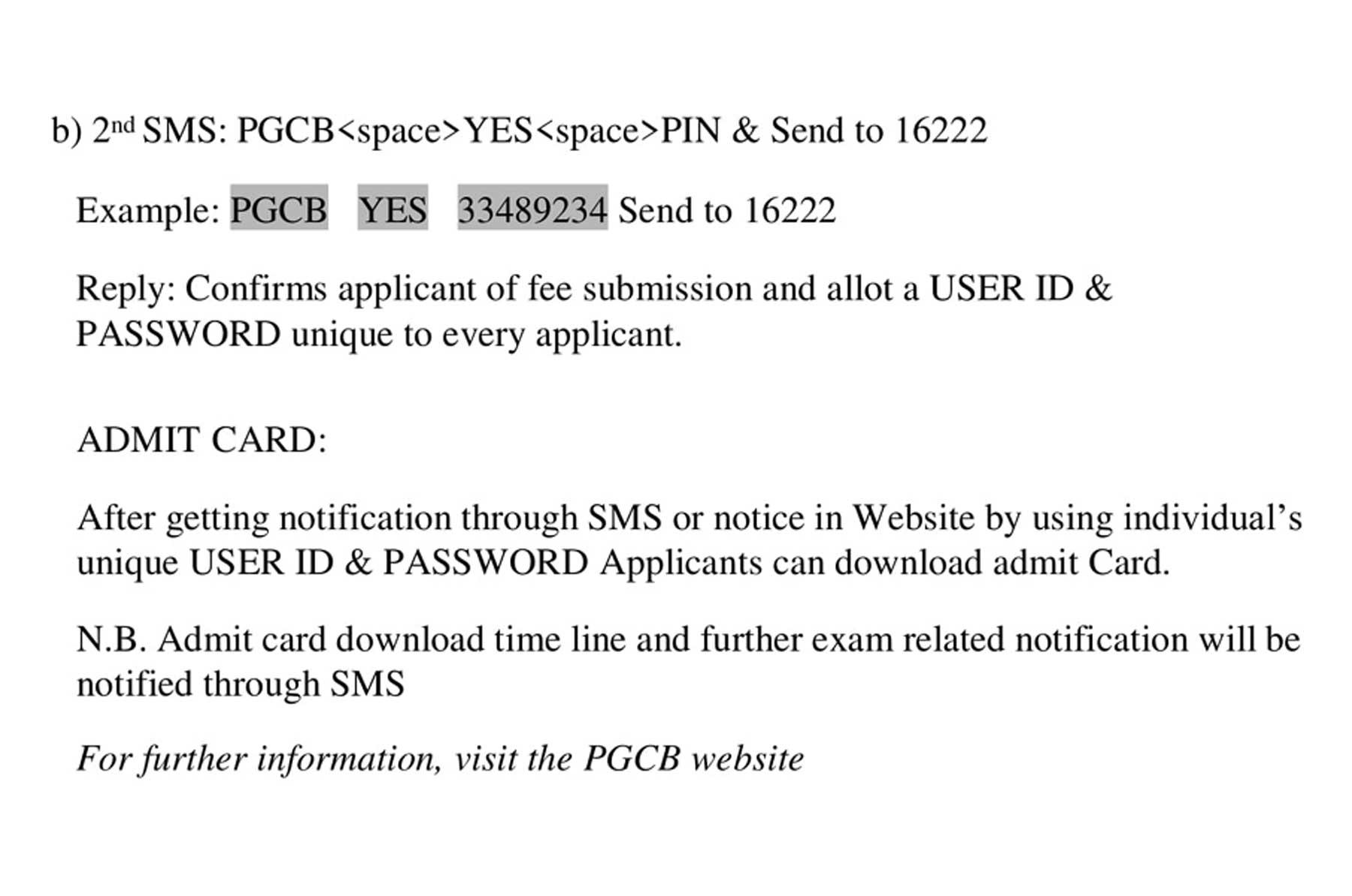 PGCB admit card download