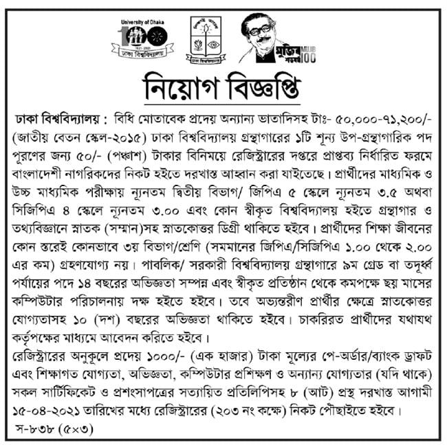 Dhaka University Jobs Circular