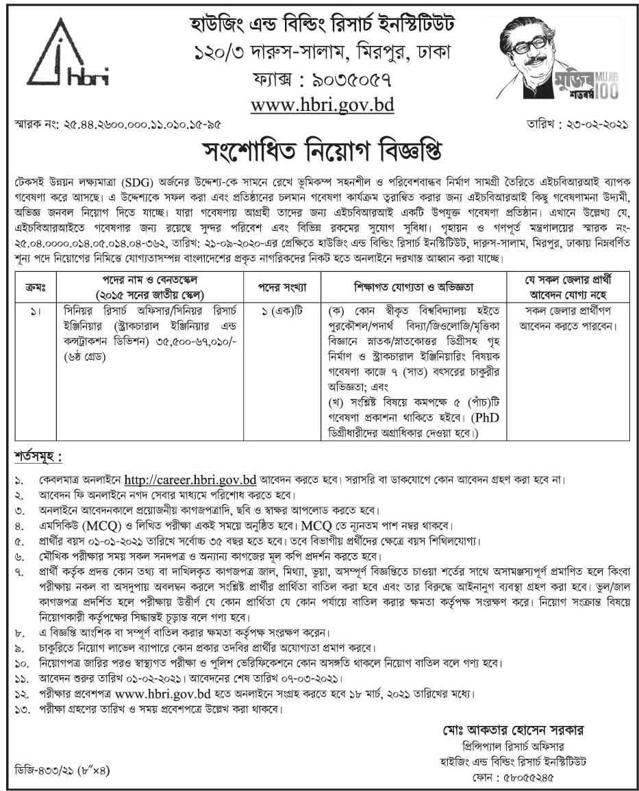 HBRI Job Circular 2021