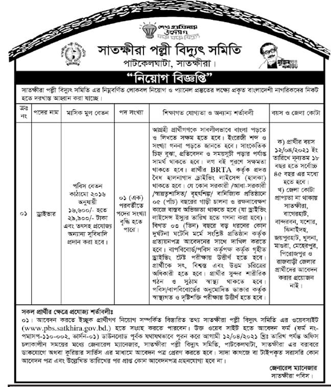 Patkelghata Satkhira PBS Job Circular 2021