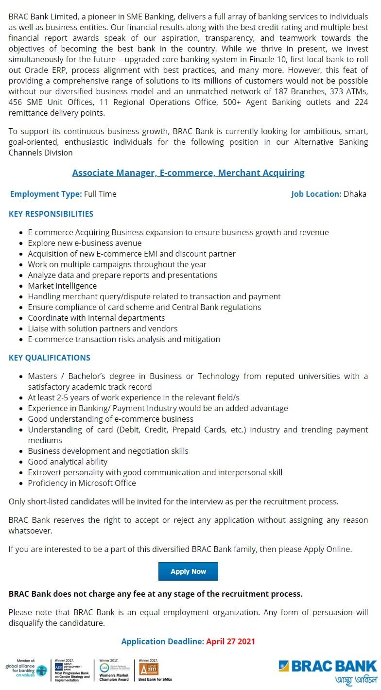 BRAC Bank Job Circular 2021