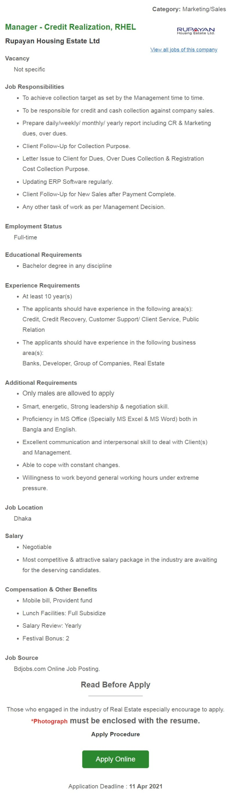 RUPAYAN Housing Estate ltd Job Circular 2021