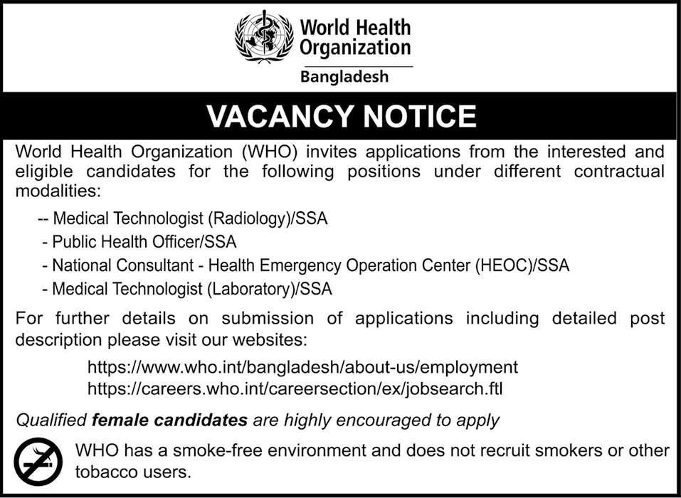 World Health Organization WHO Job Circular