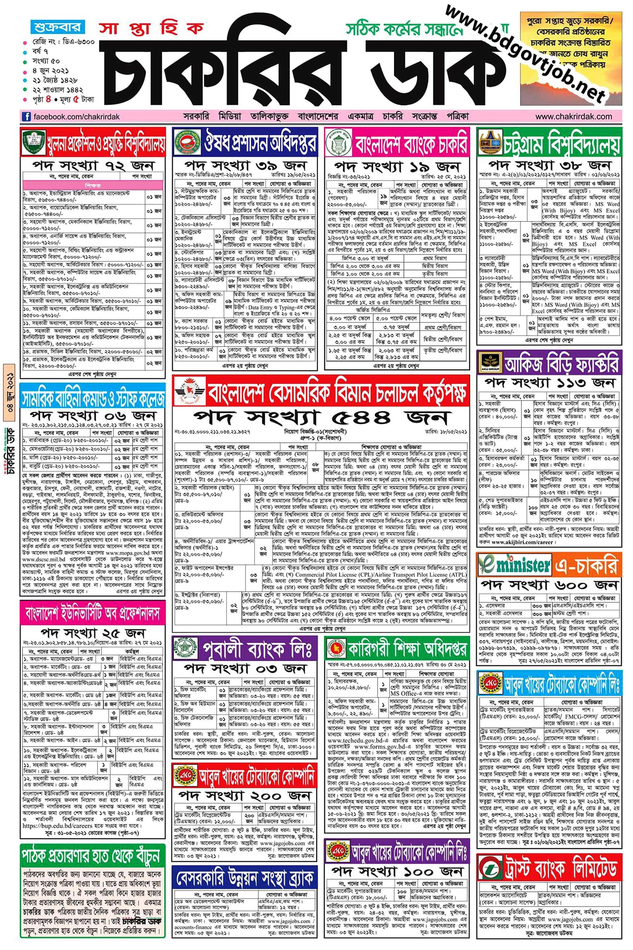 Saptahik Chakrir Khobor 04 June 2021 with PDF download