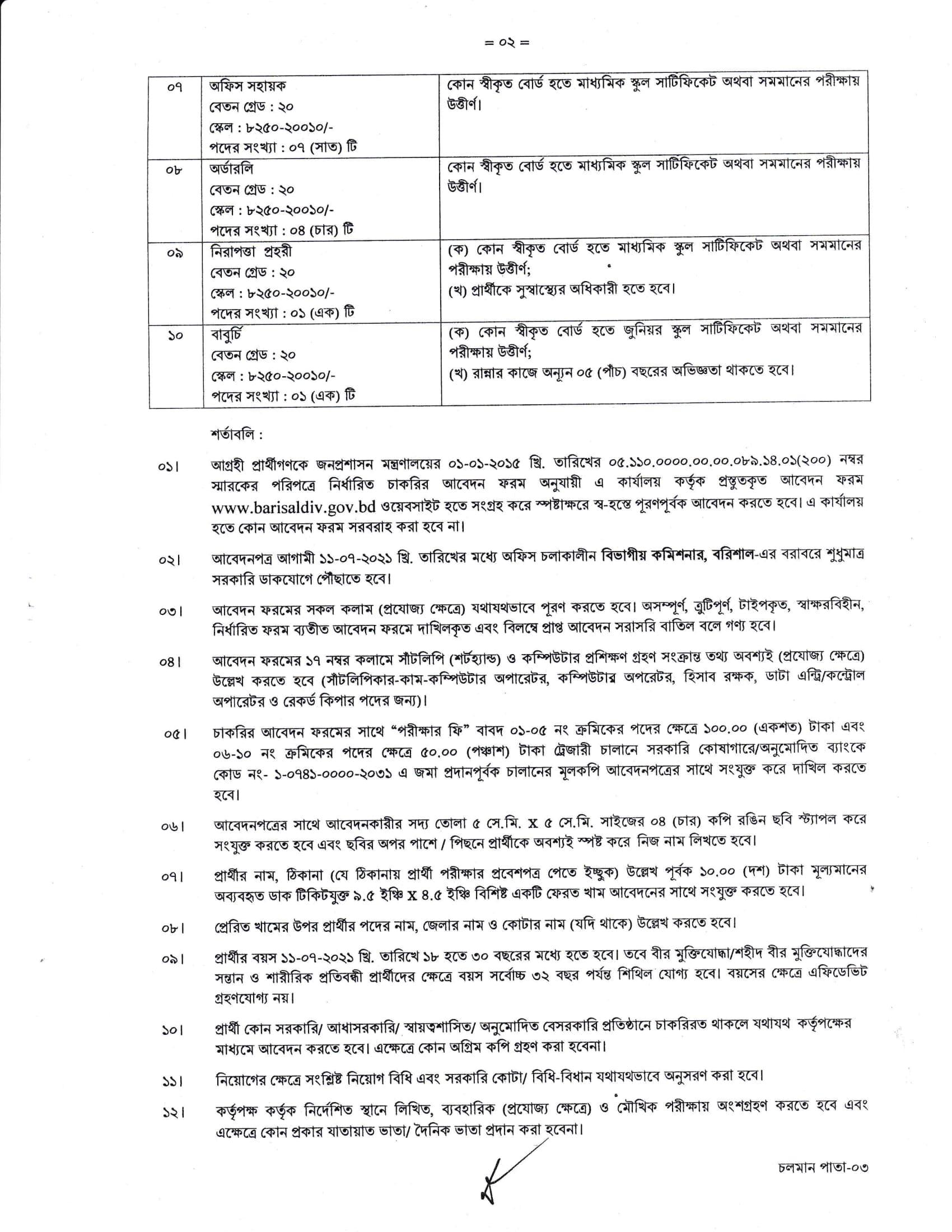 Barisal Division Job Circular