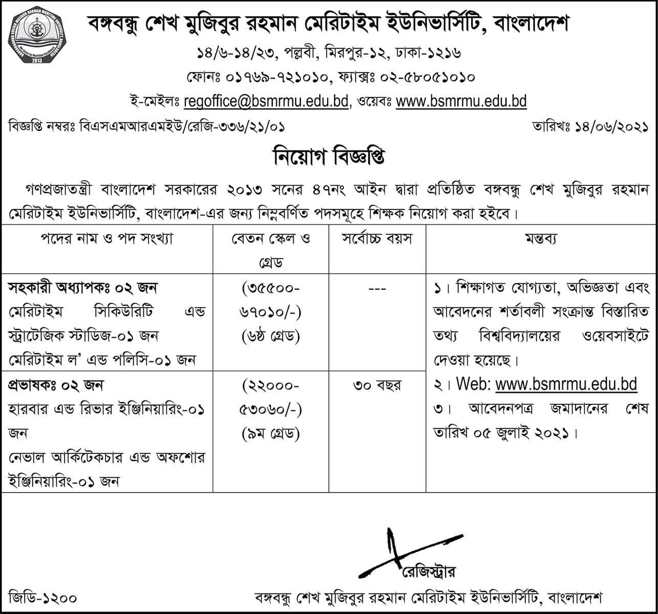 BSMRMU Job Circular 2021