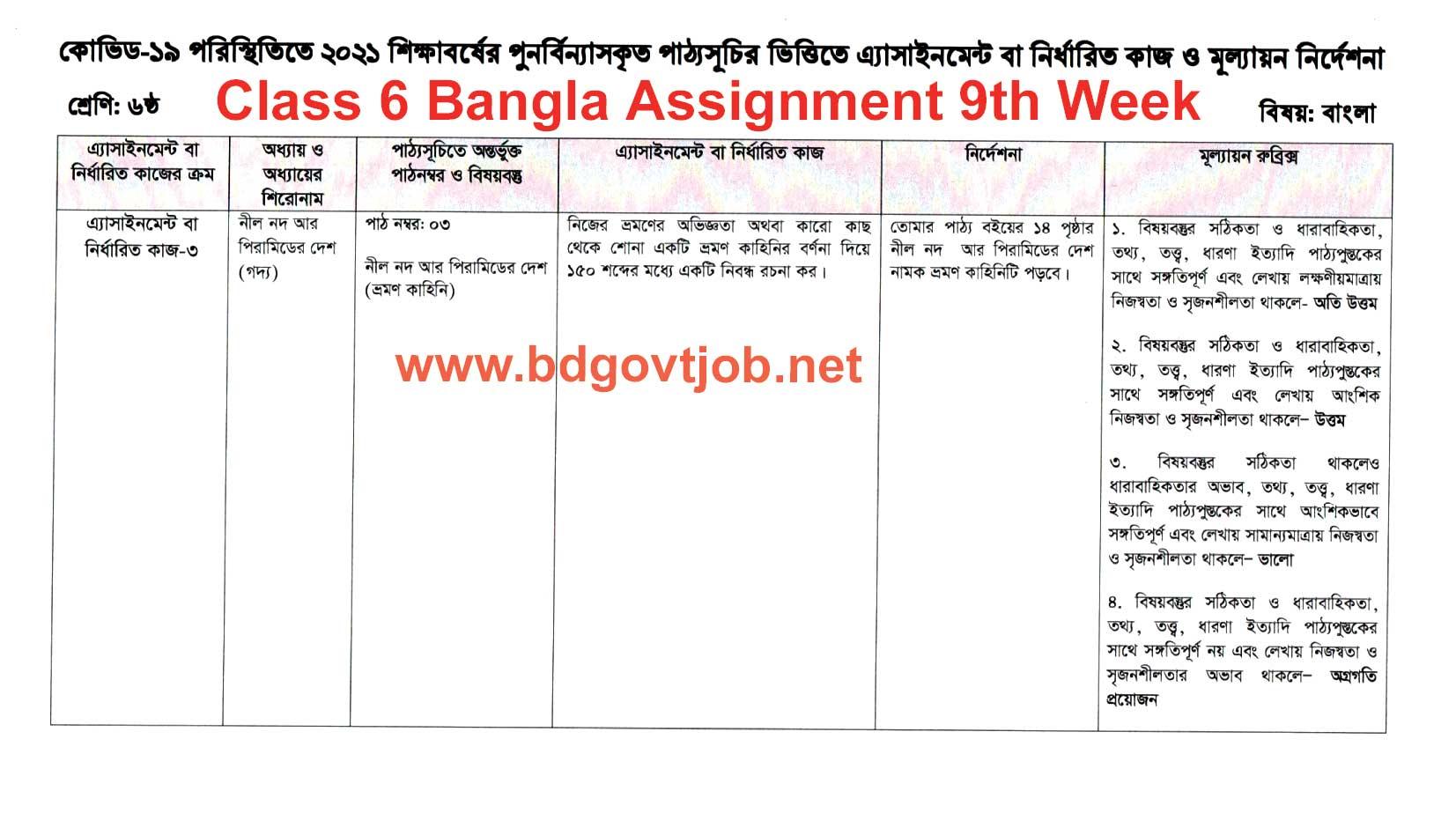 Class 6 Assignment Bangla 9th week