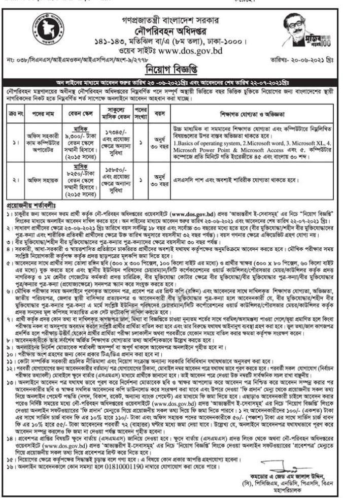 Department of Shipping DOS Job Circular 2021