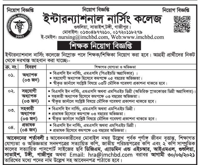 International Nursing College IMCH Job Circular 2021