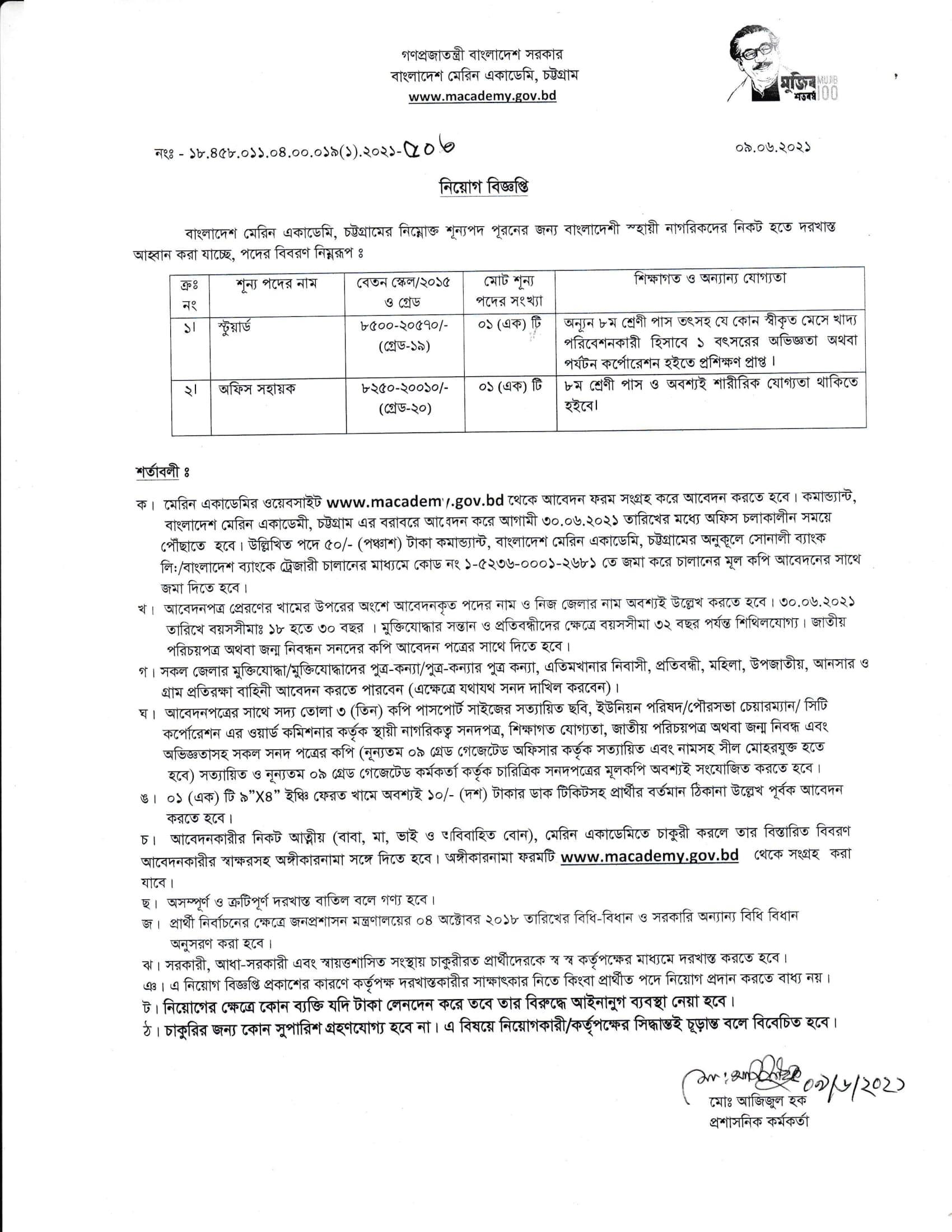 Bangladesh Marine Academy Job Circular 2021