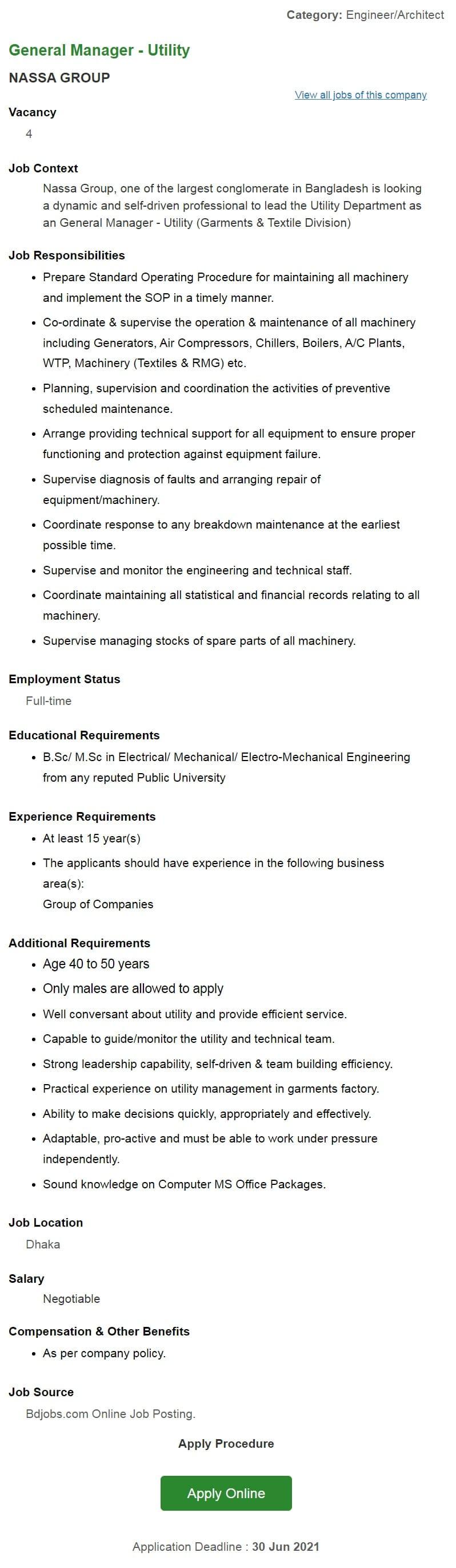 NASSA Group Job Circular 2021