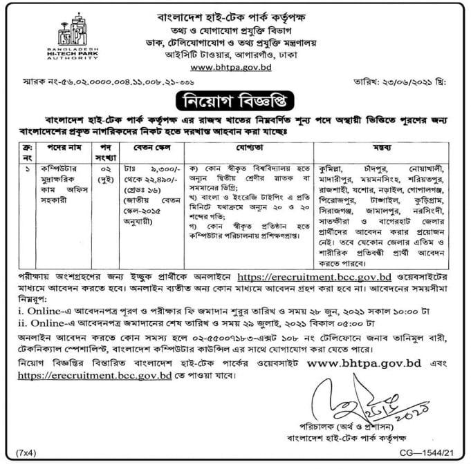 Bangladesh Hi Tech Park Authority BHTPA Job Circular 2021