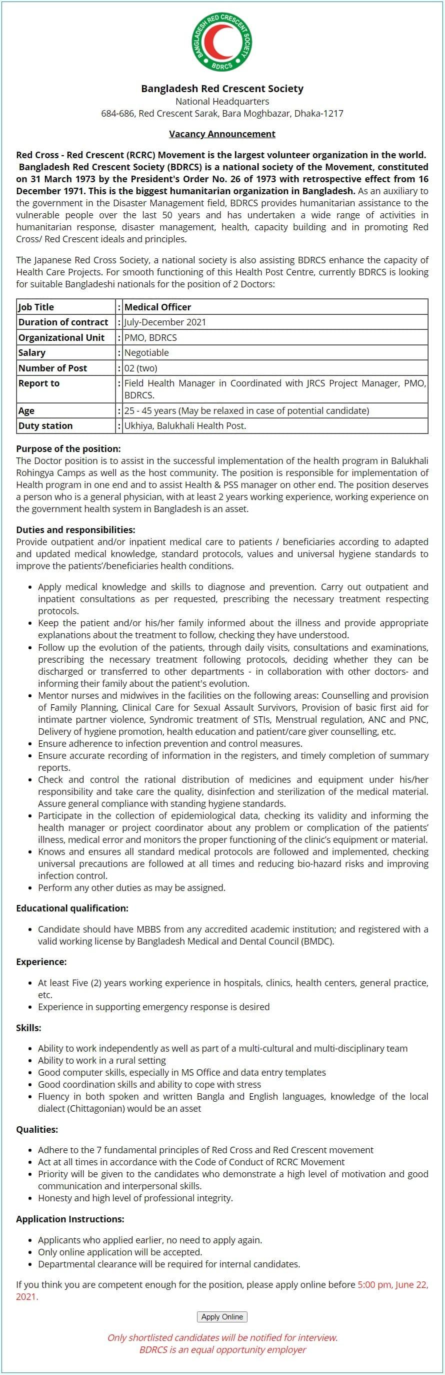 BDRCS Job Circular 2021