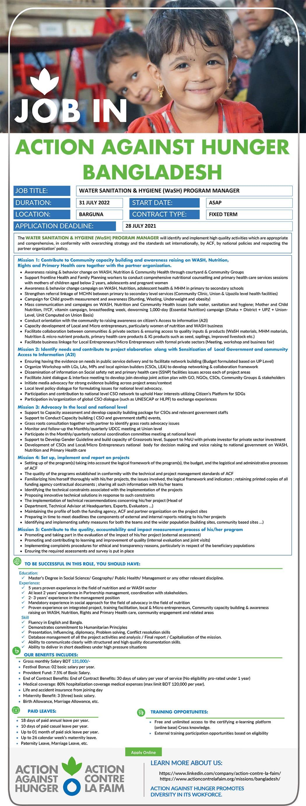 Action Contre La Faim ACF Job Circular 2021