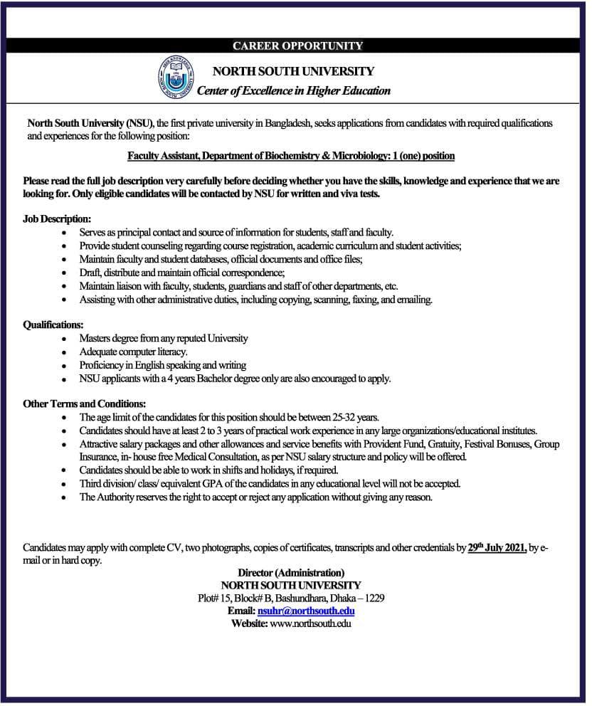 North South University NSU Job Circular 2021