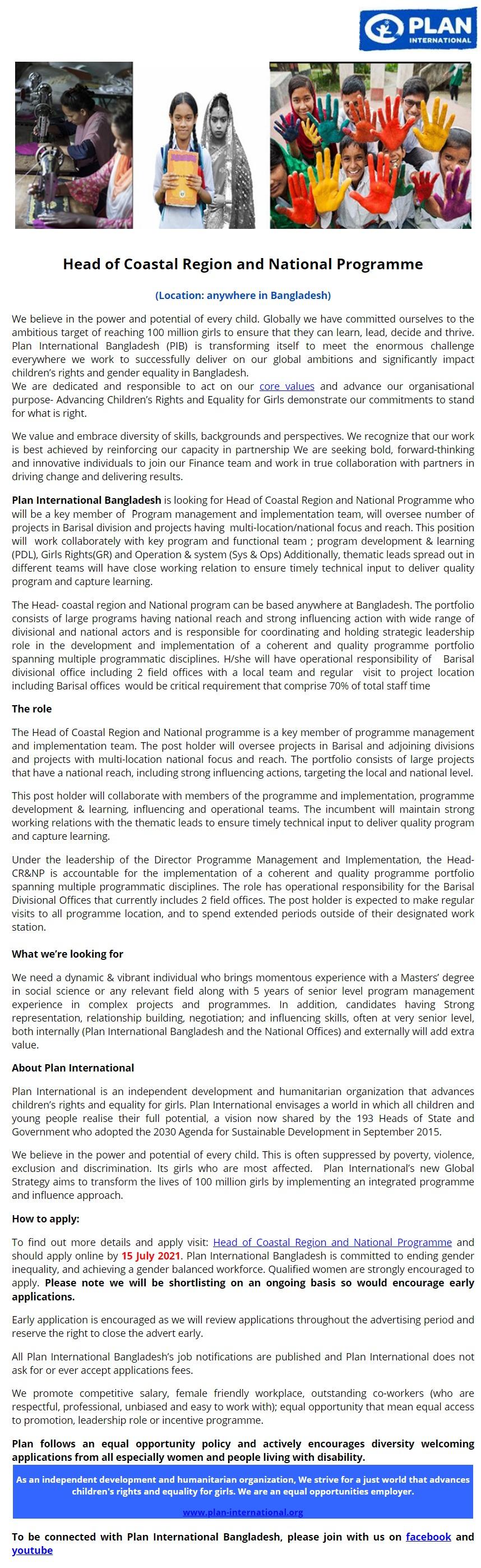 Plan International Bangladesh Job Circular 2021