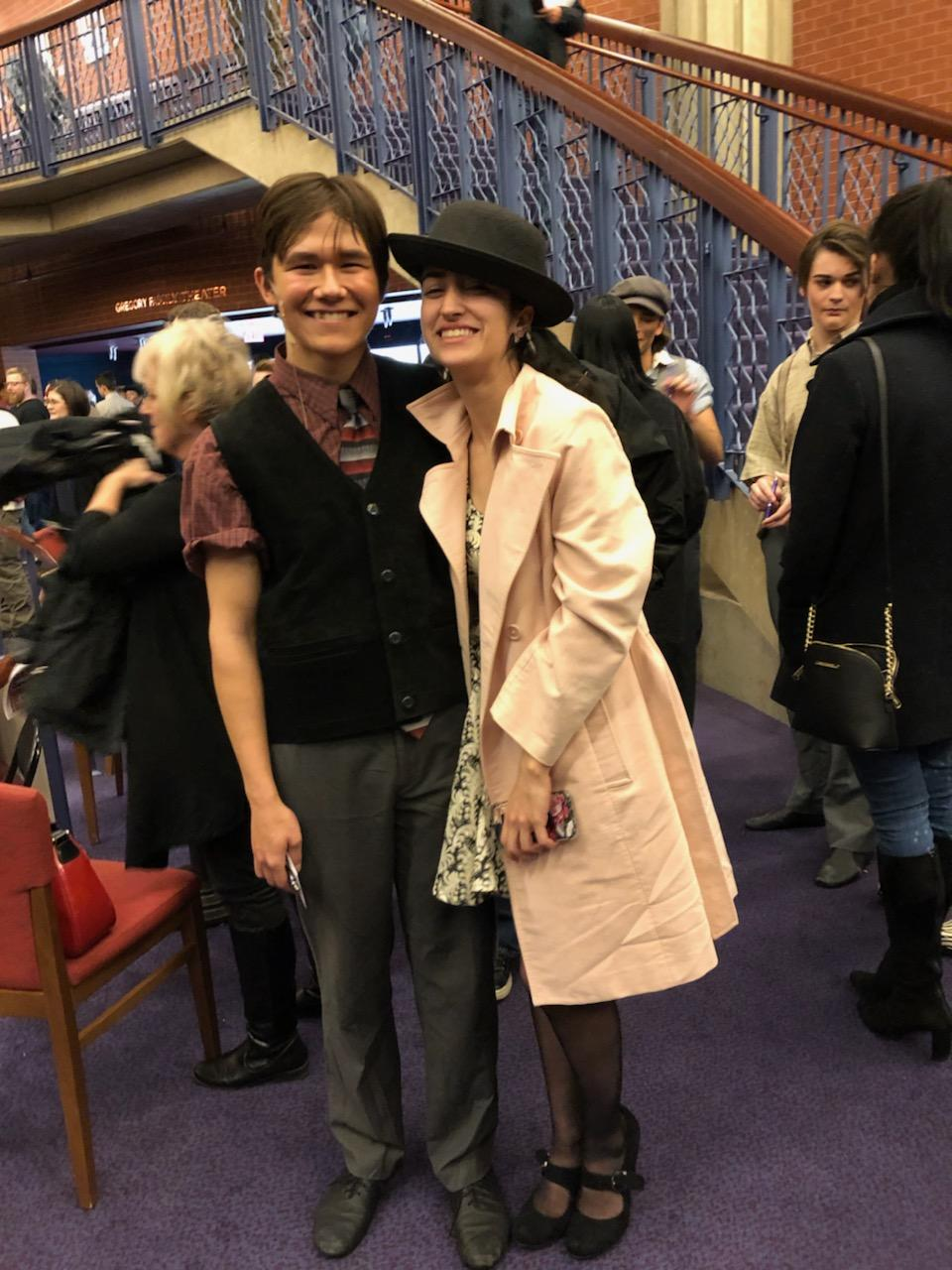 Giles with his girlfriend, senior Cosette Jenkins, after his final performance as Morris Delancey in Disney's Newsies at the Hylton Performing Arts Center.