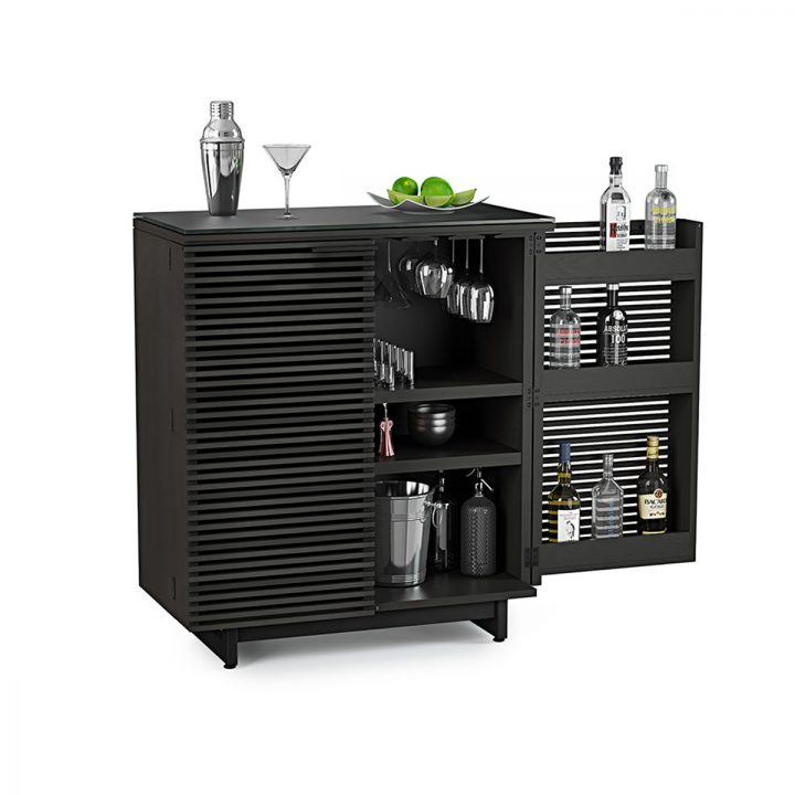 the elegant home entertainment corridor bar in charcoal finish from bdi features full bar with ample