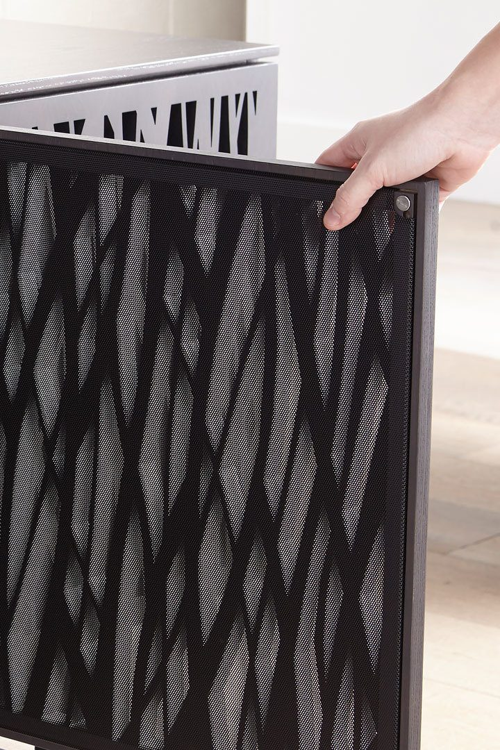 Tempo laser cut door pattern on the Elements 8777 media console by BDI Furniture.