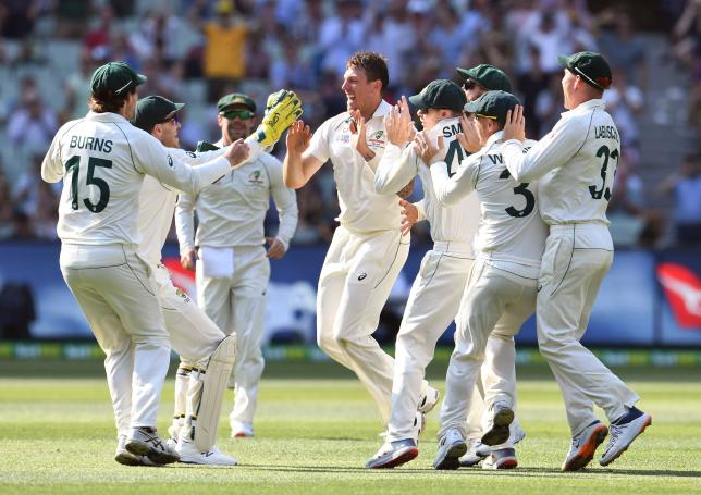 Australia`s bowler James Pattinson (C) celebrates with teammates after dismissing New Zealand`s captain Kane Williamson on the second day of the second cricket Test match at the MCG in Melbourne on 27 December, 2019. Photo: AFP