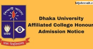 Dhaka University Affiliated College Honours Admission Notice