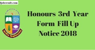 NU Honours 3rd Year Form Fill Up Notice