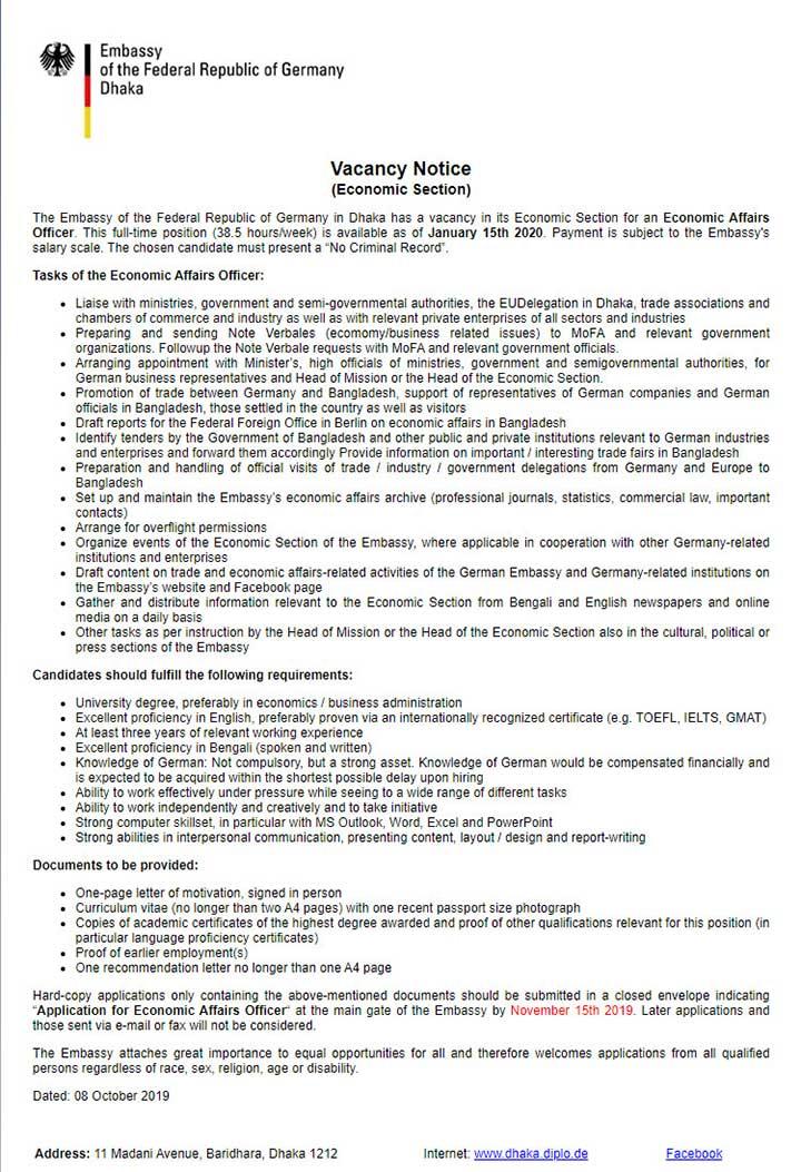 German Embassy Dhaka Job Circular Economic Affairs Officer