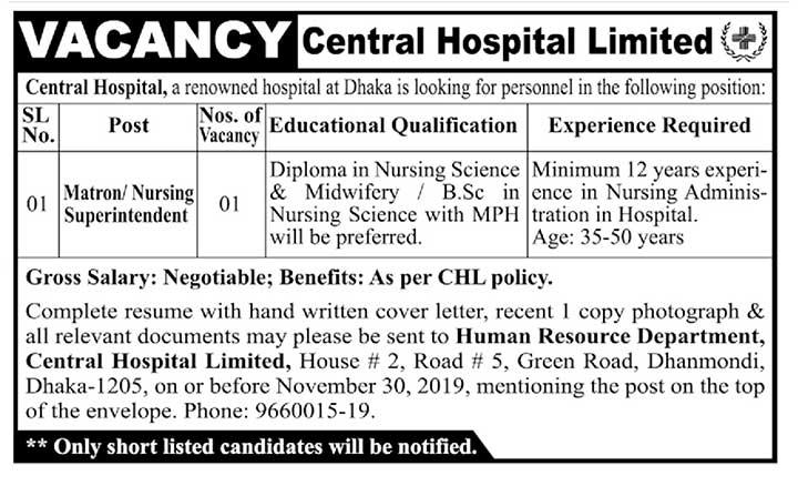 Central Hospital Limited Job Circular