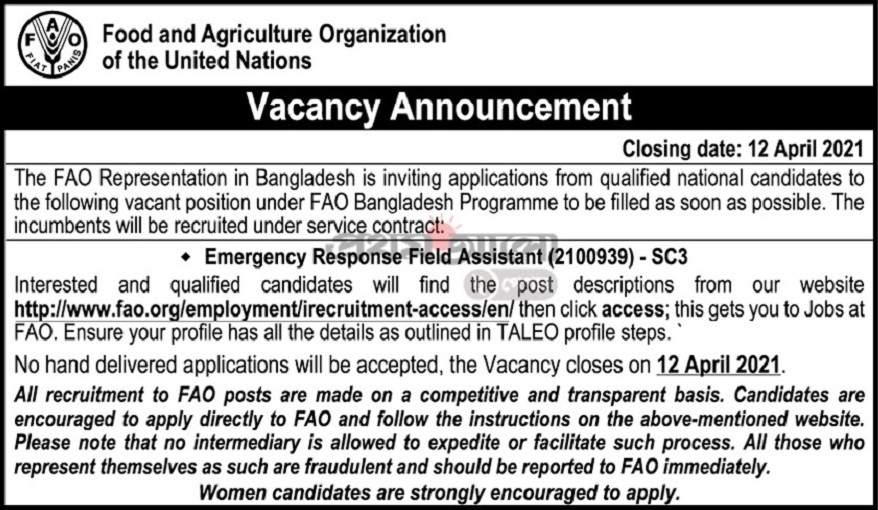 Food And Agriculture Organization of the United Nations Job Circular April 2021