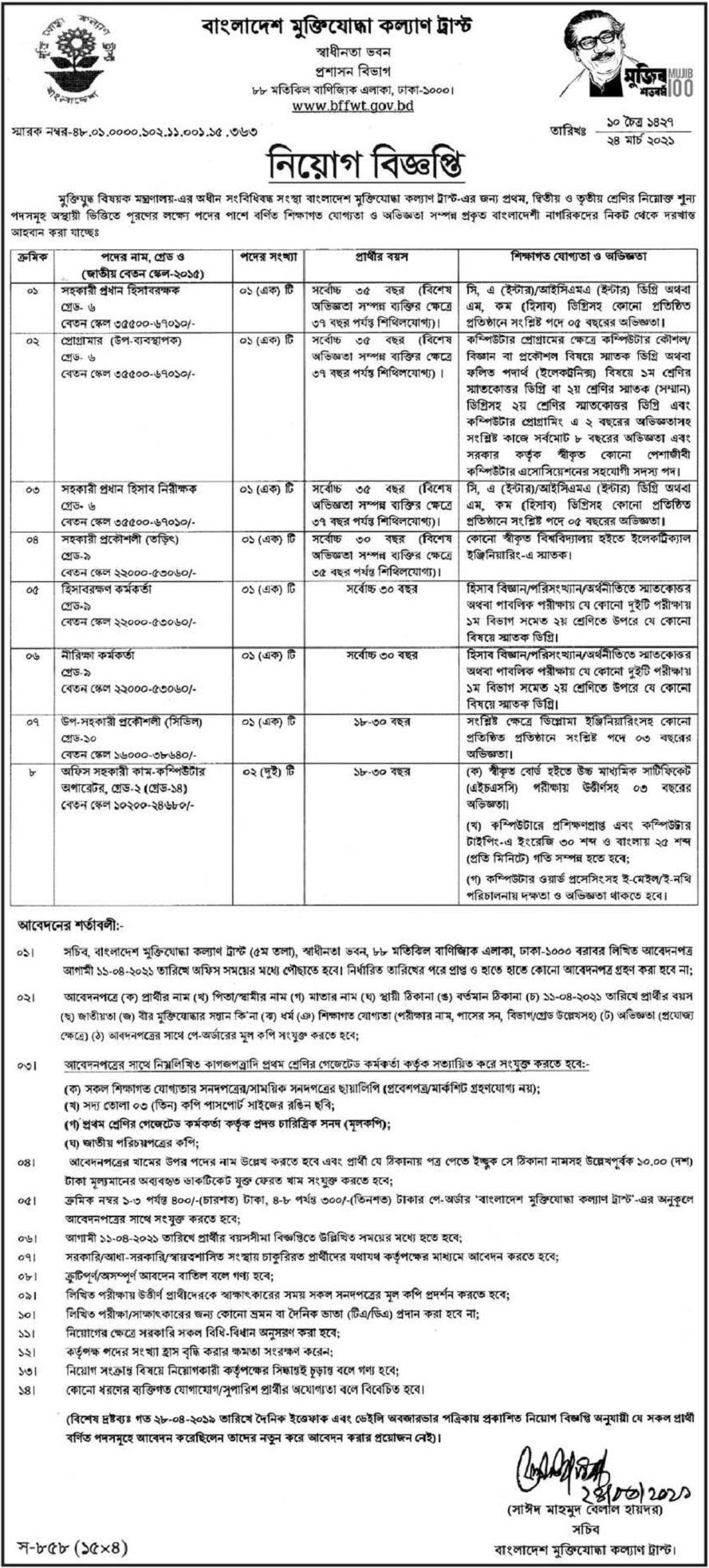 Bangladesh Freedom Fighter Welfare Trust Job Circular April 2021