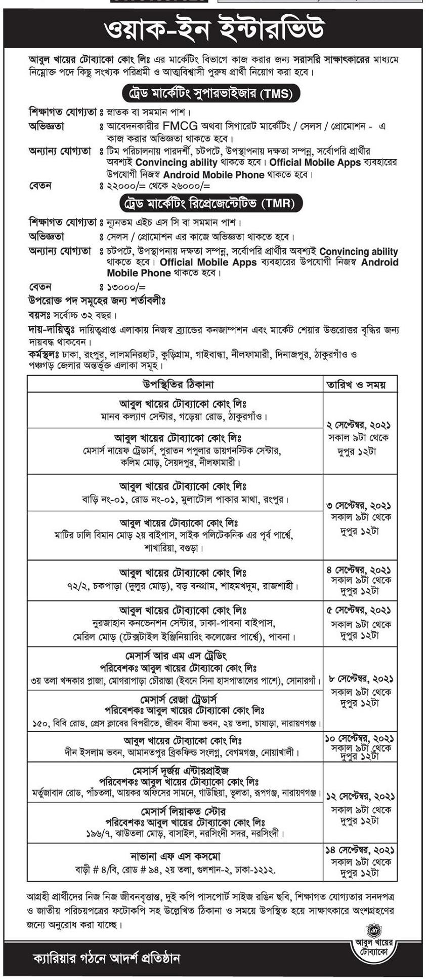 Abul Khair Tobacco Company Job Circular August 2021