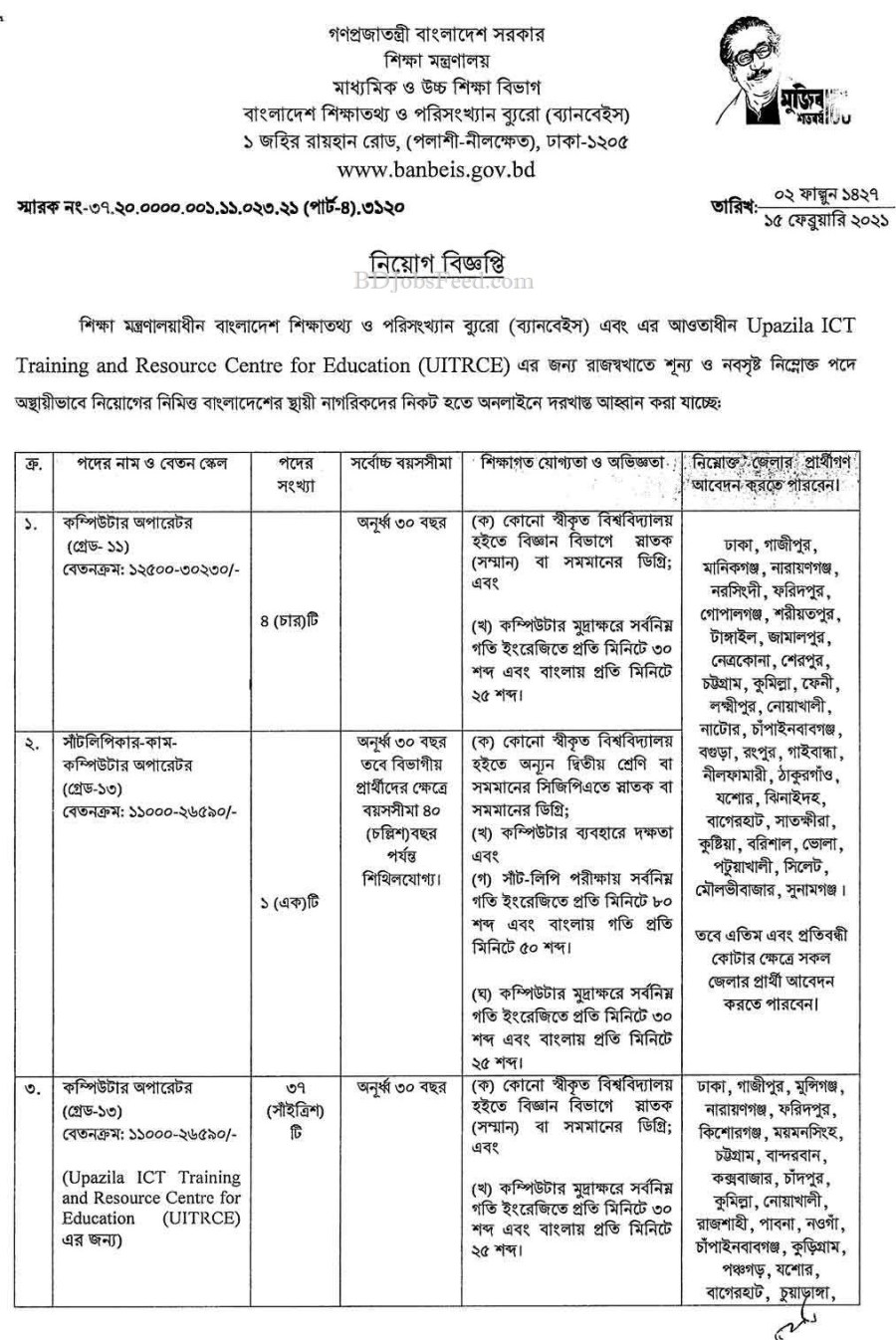 BANBEIS Official Job Circular March 2021 Image