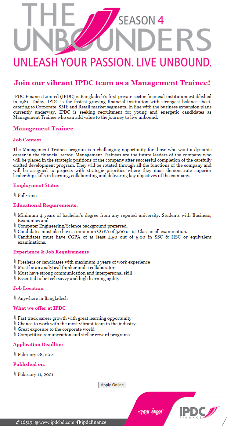 IPDC Finance Limited Job Circular February 2021