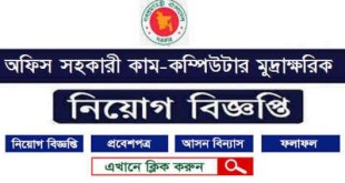 Computer Operator govt job circular in 2019