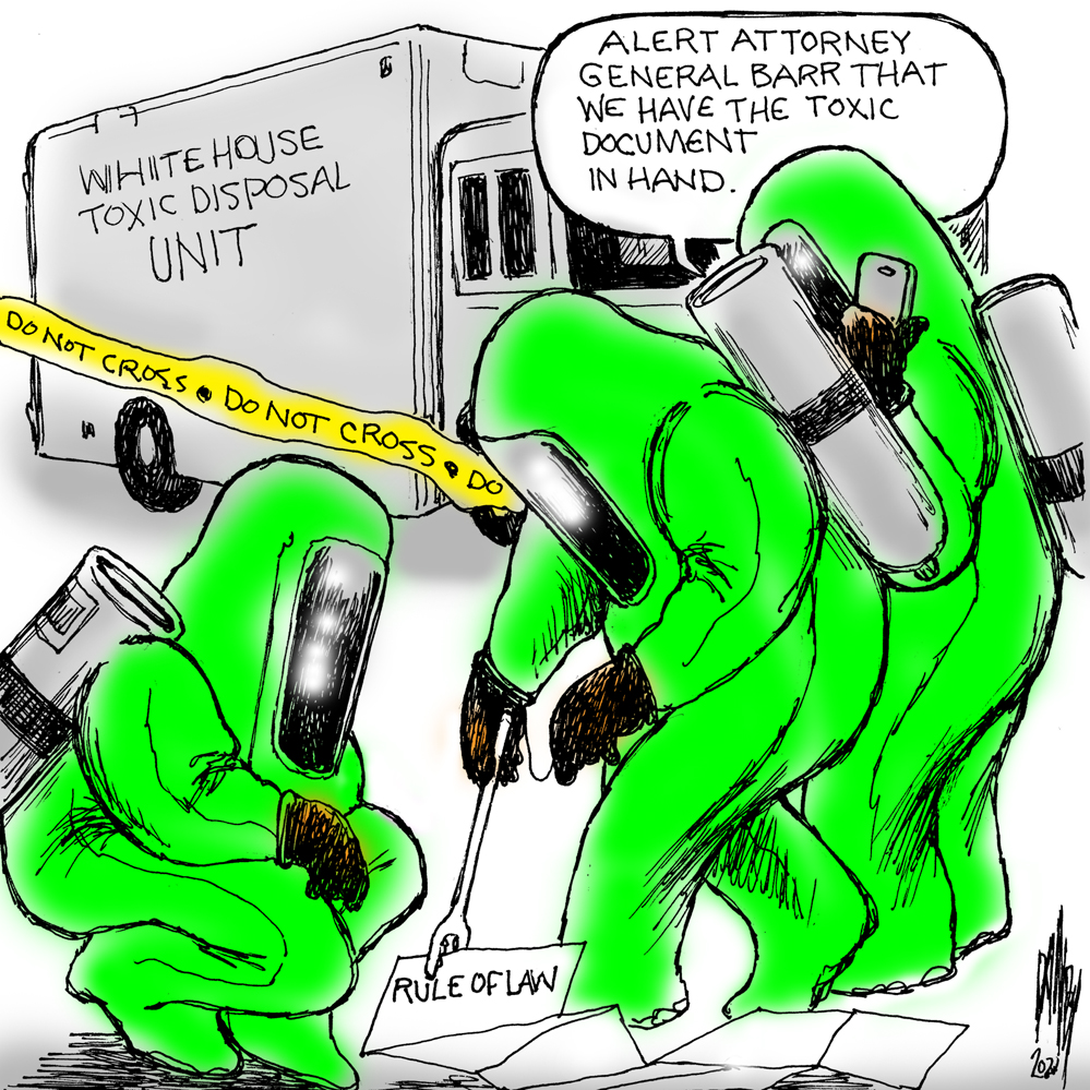Persons in hazmat suits from a truck labeled