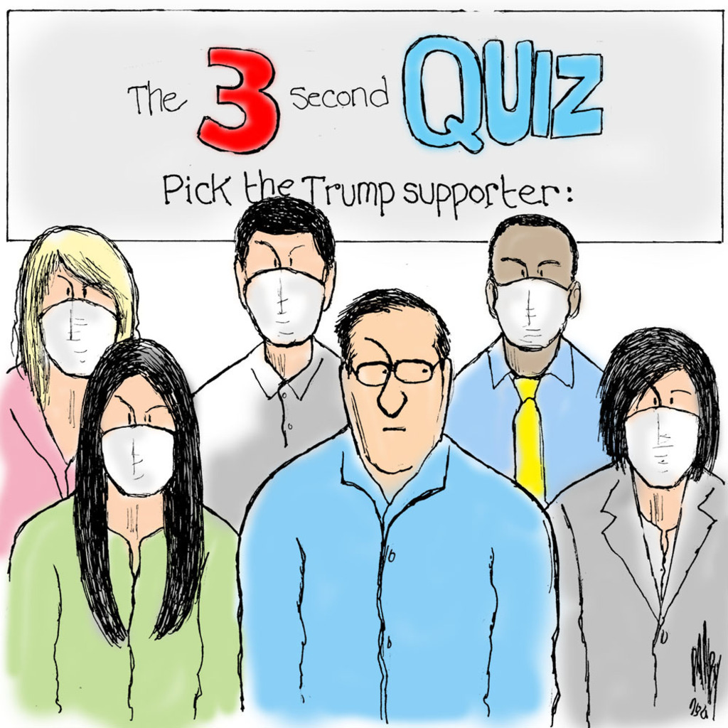 Title:  The Three-Second Quiz:  Pick the Trump Supporter.  Image:  Five persons wearing masks, one not wearing mask.