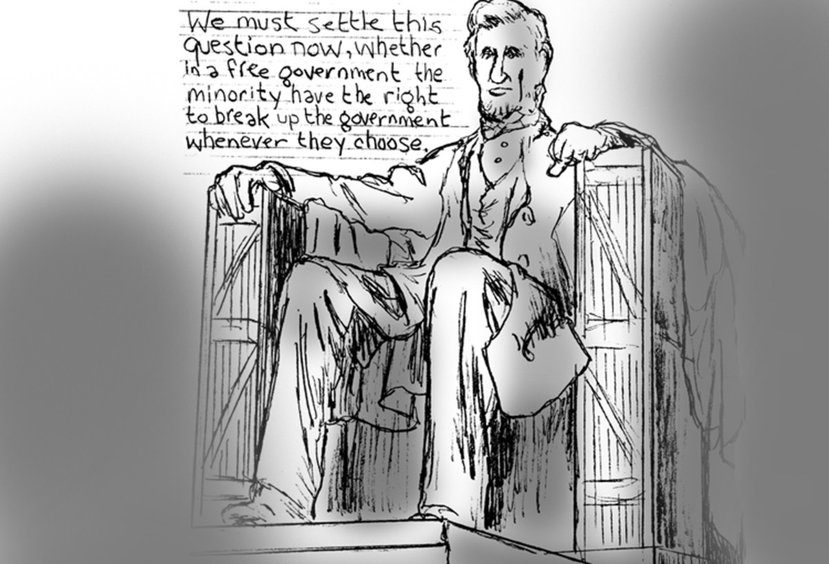 Abraham Lincoln at the Lincoln Memorial with quotation,